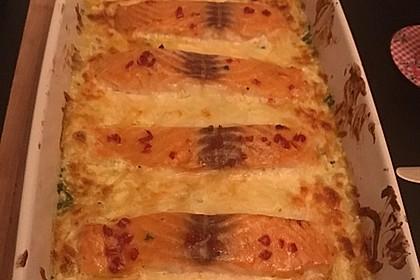 Süß-scharfer Lachs auf Spinat mit Sahnesauce und Honigkruste 46
