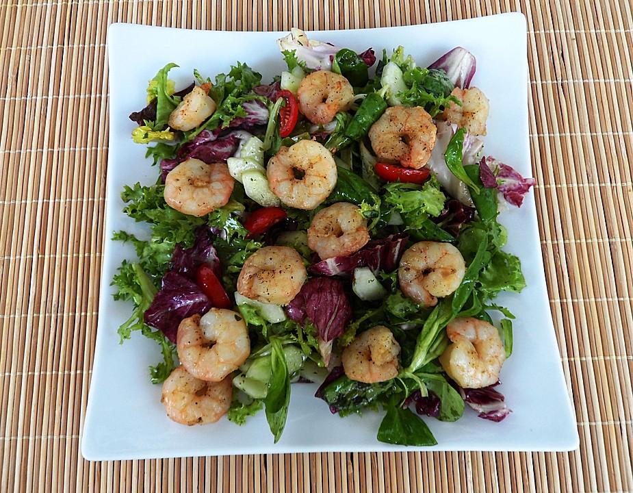 Rezept gruner salat garnelen