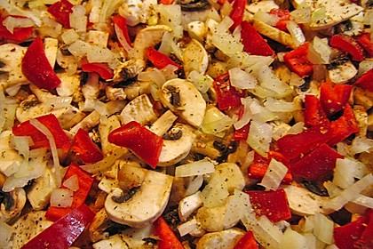 Pizza Knoblauch Champignon Paprika - vegan 10