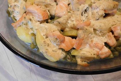 Lachs-Kartoffel-Bohnen Auflauf mit milder Senfcreme 1