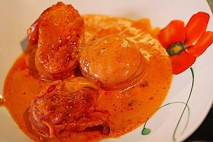 Schweinefilets mit Bacon und Tomatensahnesoße überbacken 13