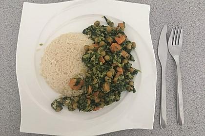 Veganes Kichererbsen-Curry mit Spinat und Möhre 14