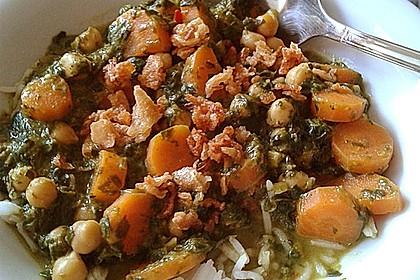 Veganes Kichererbsen-Curry mit Spinat und Möhre 4