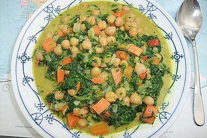 Veganes Kichererbsen-Curry mit Spinat und Möhre 1