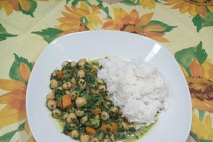 Veganes Kichererbsen-Curry mit Spinat und Möhre 12