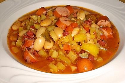 Bohneneintopf mit Würstchen und Kartoffeln 1