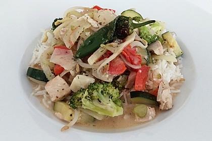 Fisch-Gemüse-Pfanne mit Kokosmilch, Low carb 9