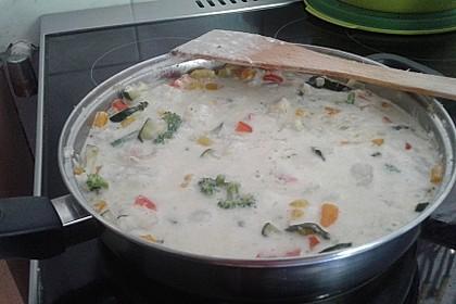 Fisch-Gemüse-Pfanne mit Kokosmilch, Low carb 52