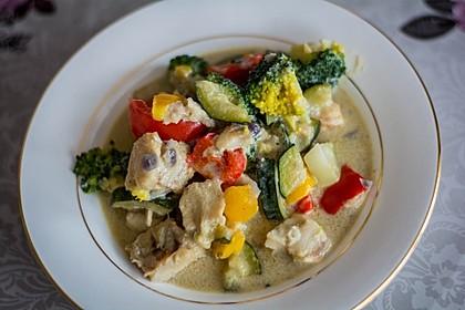 Fisch-Gemüse-Pfanne mit Kokosmilch, Low carb 16