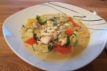 Fisch-Gemüse-Pfanne mit Kokosmilch, Low carb 48