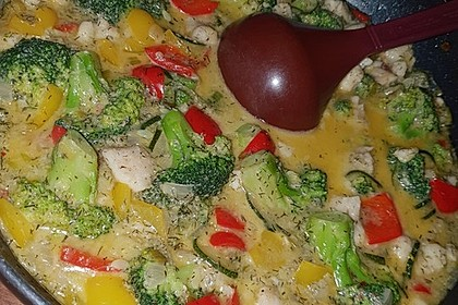 Fisch-Gemüse-Pfanne mit Kokosmilch, Low carb 47