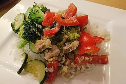 Fisch-Gemüse-Pfanne mit Kokosmilch, Low carb 5