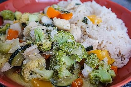 Fisch-Gemüse-Pfanne mit Kokosmilch, Low carb 15