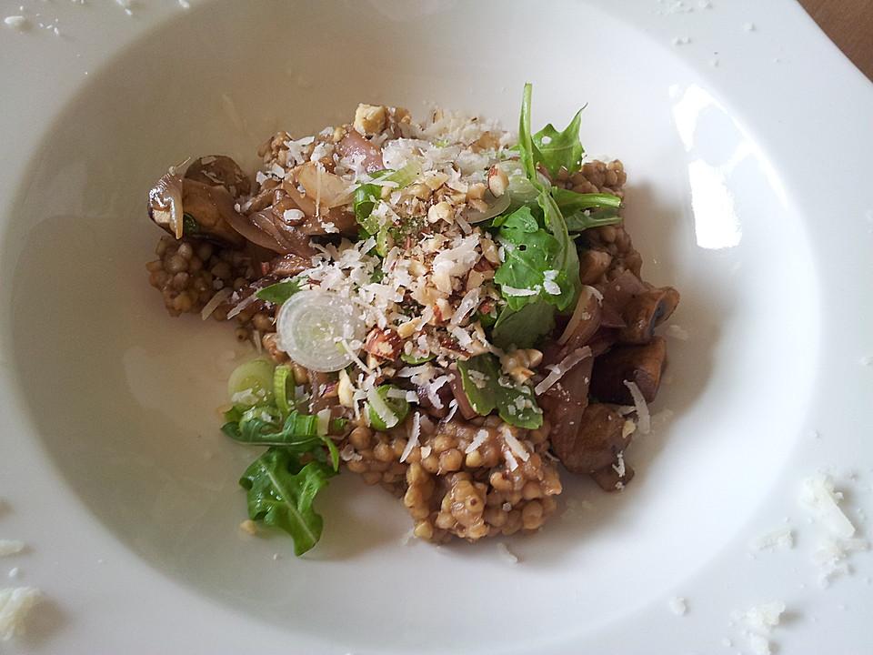 buchweizen risotto mit rucola und zwiebel champignon gem se von psst77. Black Bedroom Furniture Sets. Home Design Ideas