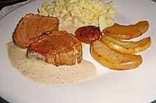Schweinefilet mit Äpfeln in Calvados-Sahnesauce