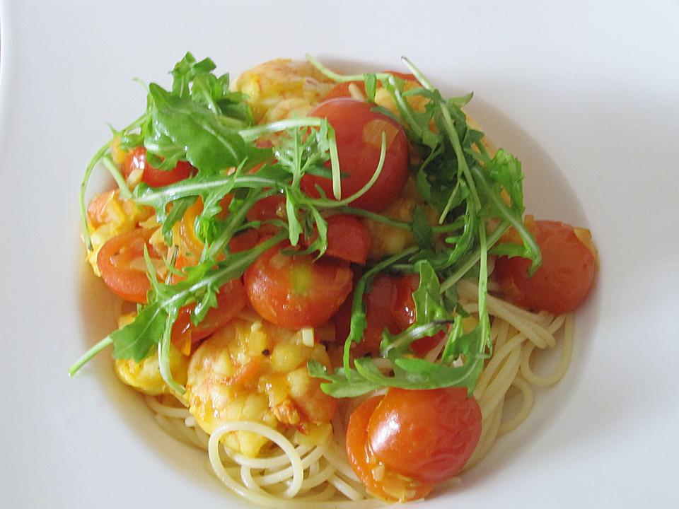 spaghetti mit geschmolzenen safran tomaten garnelen und rucola von gourmetkathi. Black Bedroom Furniture Sets. Home Design Ideas