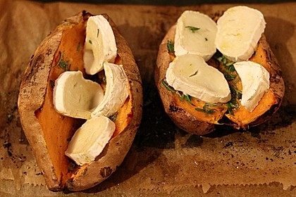 Ofen - Süßkartoffeln mit Ziegenkäse - Quark 3
