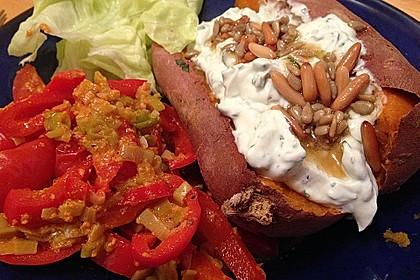 Ofen - Süßkartoffeln mit Ziegenkäse - Quark 15
