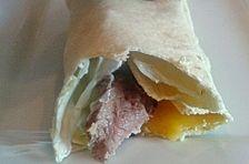 Wraps mit Schweinefilet und Mango