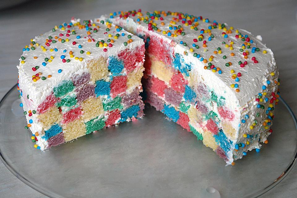 Bunte Regenbogen Schachbrett Torte