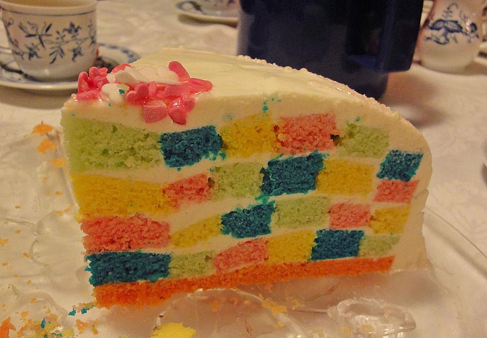 Bunte Regenbogen Schachbrett Torte 2