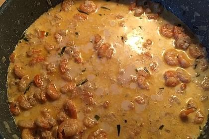 Pasta mit Garnelen-Sahne-Soße 4