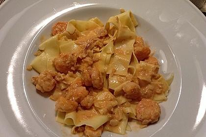 Pasta mit Garnelen-Sahne-Soße 6