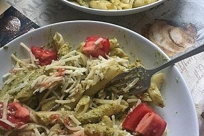 Pesto vom grünen Spargel zu Pasta und gebratenen Garnelen 3