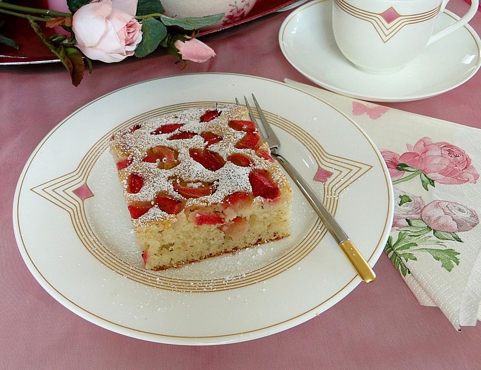 Schnelle kuchen mit rhabarber