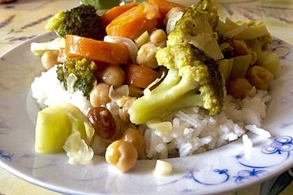 Kichererbsencurry mit Brokkoli, Möhren und Kokosmilch