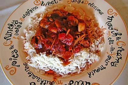 Garnelen in süß-saurer Soße auf Reis 1