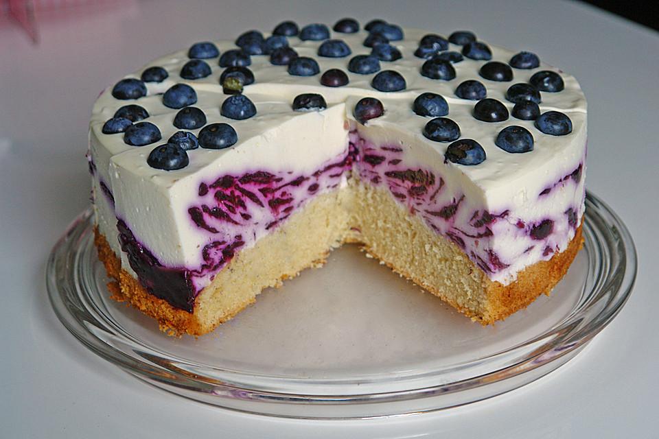 Joghurt sahne torte mit heidelbeeren