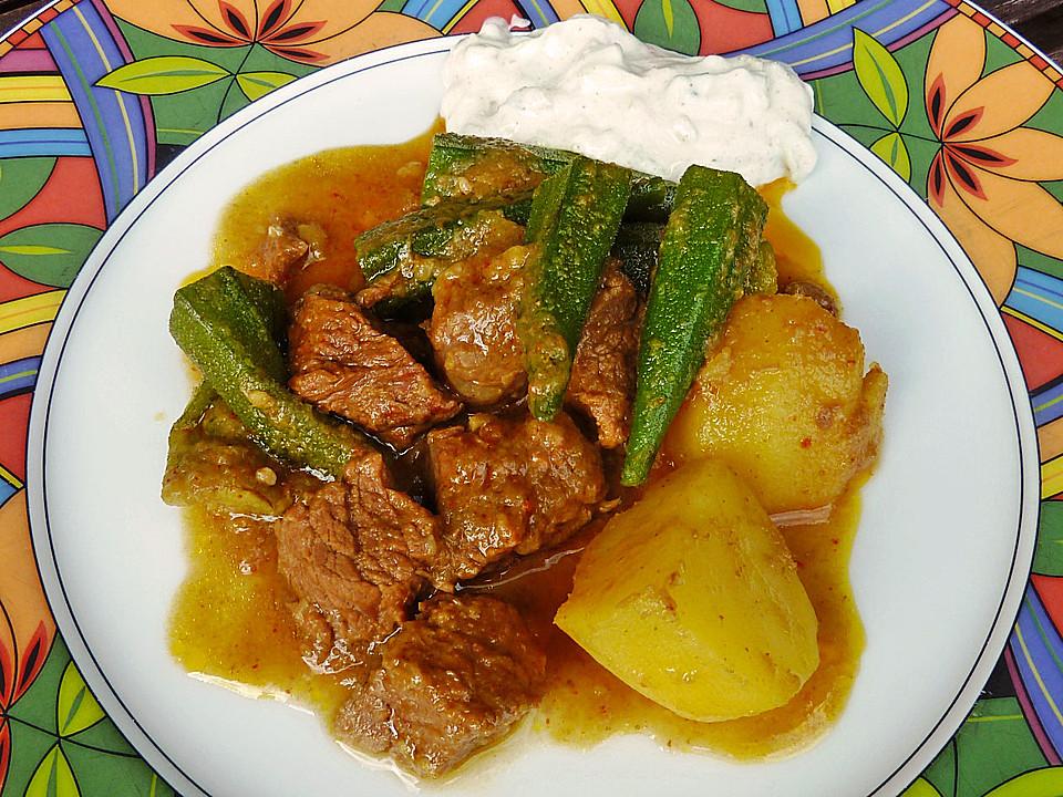 rind kartoffel curry mit okra aus birma rezept mit bild. Black Bedroom Furniture Sets. Home Design Ideas