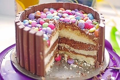 Schokoladen smarties kitkat torte