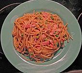 Spaghetti mit Schinken und Erbsen (Bild)