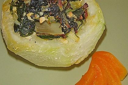 Kohlrabi gefüllt mit Spinat, Schafskäse und Schalotten 5