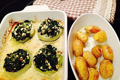 Kohlrabi gefüllt mit Spinat, Schafskäse und Schalotten 16