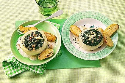 Kohlrabi gefüllt mit Spinat, Schafskäse und Schalotten 1