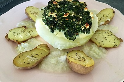 Kohlrabi gefüllt mit Spinat, Schafskäse und Schalotten 2