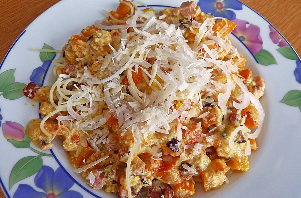 Spaghetti Mit Kürbis : spaghetti mit k rbis carbonara rezept mit bild ~ Lizthompson.info Haus und Dekorationen