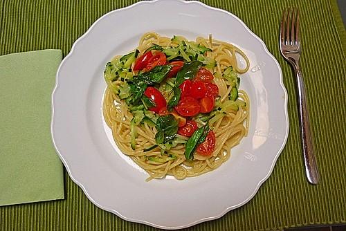 vegetarische spaghetti mit zucchini kirschtomaten und basilikum rezept mit bild. Black Bedroom Furniture Sets. Home Design Ideas