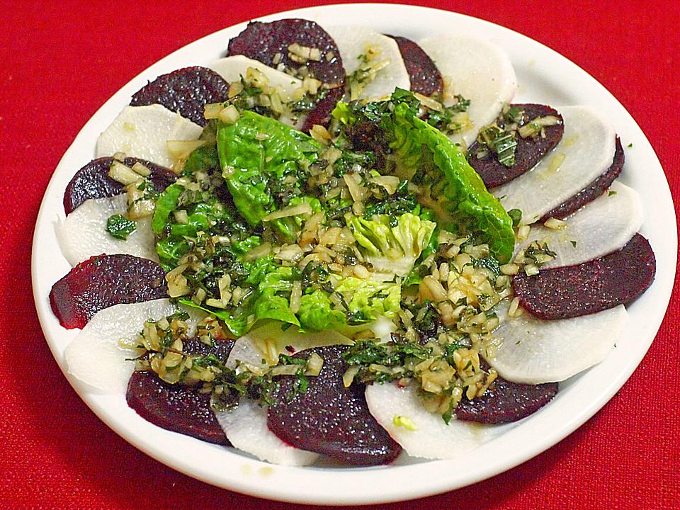 salat aus roter beete und rettich mit japanischem dressing rezept mit bild. Black Bedroom Furniture Sets. Home Design Ideas