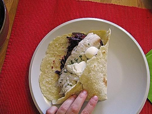 fisch burritos mit rotkohl rezept mit bild von. Black Bedroom Furniture Sets. Home Design Ideas