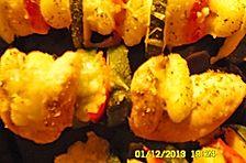 Überbackene Hähnchenfiletspieße mit Gnocchi, Zucchini, Paprika