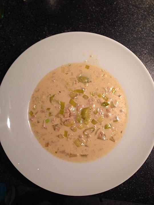Käse-Lauch-Suppe mit (Soja-)Hack von Ulmchen | Chefkoch.de