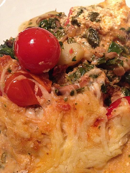 vegetarischer gem seauflauf mit spinat kartoffeln tomaten pilzen und auberginen rezept mit. Black Bedroom Furniture Sets. Home Design Ideas