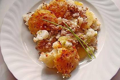Kartoffel-Blumenkohl Auflauf mit Bratwurst-Hack 1
