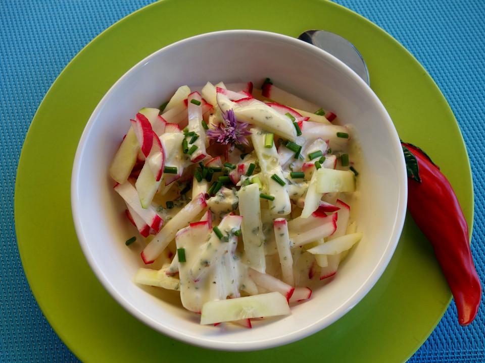gurken radieschen salat mit einem erfrischendem jogurthdressing rezept mit bild. Black Bedroom Furniture Sets. Home Design Ideas