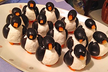 Oliven-Ziegenkäse-Pinguine 2