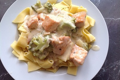 Nudeln mit Lachs - Brokkoli - Sauce 2